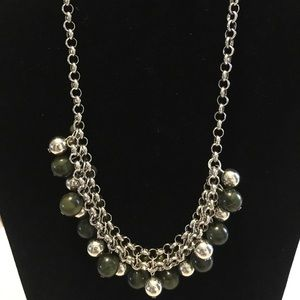 Paparazzi silver & green necklace